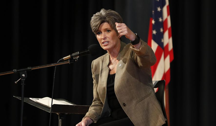 U.S. Sen. Joni Ernst, R-Iowa, speaks during a town hall meeting, Thursday, Sept. 21, 2017, in Charles City, Iowa. (AP Photo/Charlie Neibergall) ** FILE **