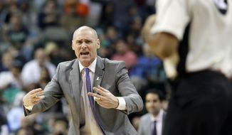 FILE - In this Dec. 3, 2016, file photo, Dallas Mavericks head coach Rick Carlisle reacts to a call during the first half of an NBA basketball game against the Chicago Bulls in Dallas. From the start of last season to the start of this season, not a single NBA team has changed coaches. That's an unprecedented run of retention and an obvious source of pride for coaches across the league as the first practices of the season get set to occur this weekend. (AP Photo/LM Otero, File)
