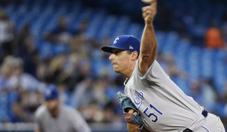 Kansas City Royals starting pitcher Jason Vargas works against the Toronto Blue Jays during the first inning of a baseball game Thursday, Sept. 21, 2017, in Toronto. (Nathan Denette/The Canadian Press via AP)