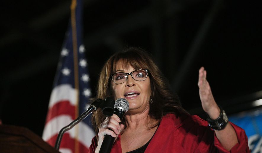 Former vice presidential candidate Sarah Palin speaks at a rally, Thursday, Sept. 21, 2017, in Montgomery, Ala. Palin is in Montgomery to support Judge Roy Moore for the U.S. Senate candidacy. (AP Photo/Brynn Anderson)