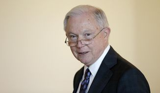 """Attorney General Jeff Sessions speaks to law enforcement officials about transnational organized crime and gang violence at the Federal Courthouse Thursday, Sept. 21, 2017, in Boston. Sessions has called crime groups, like MS-13, """"one of the gravest threats to American safety."""" (AP Photo/Stephan Savoia)"""