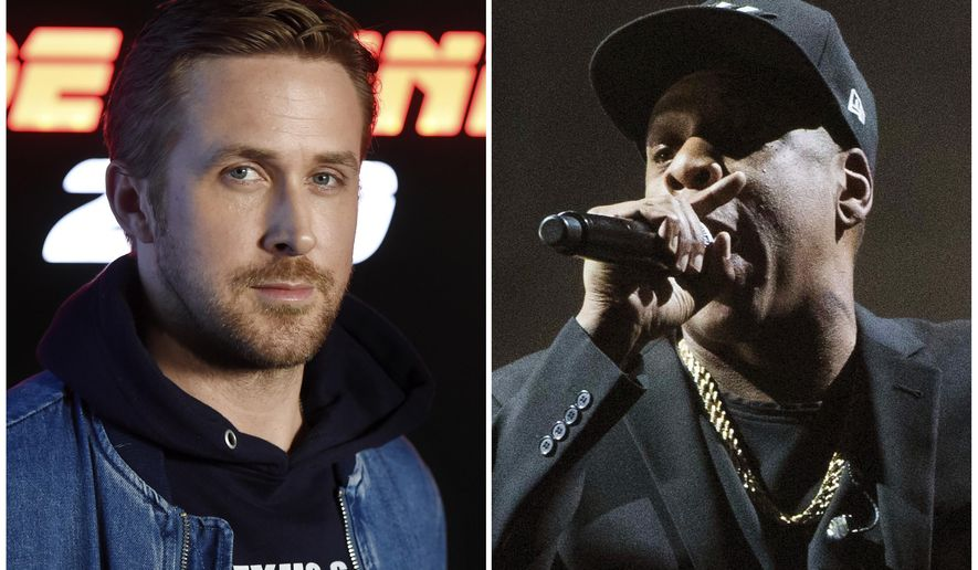"This combination photo shows Ryan Gosling at CinemaCon 2017 on March 27, 2017, in Las Vegas, left, and Jay Z performing at a campaign rally for Democratic presidential candidate Hillary Clinton in Cleveland on Nov. 4, 2016. Gosling will host the 43rd season opener of ""Saturday Night Live,"" on Sept. 30. Jay-Z will be the musical guest. (AP Photo/File)"