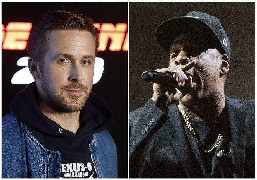 """This combination photo shows Ryan Gosling at CinemaCon 2017 on March 27, 2017, in Las Vegas, left, and Jay Z performing at a campaign rally for Democratic presidential candidate Hillary Clinton in Cleveland on Nov. 4, 2016. Gosling will host the 43rd season opener of """"Saturday Night Live,"""" on Sept. 30. Jay-Z will be the musical guest. (AP Photo/File)"""