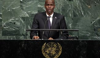 President Jovenel Moise of Haiti addresses the United Nations General Assembly, at U.N. headquarters, Thursday, Sept. 21, 2017. (AP Photo/Richard Drew)