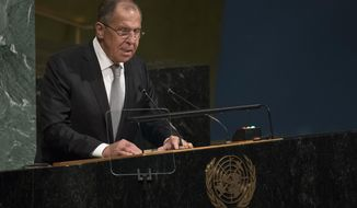 Russian Foreign Minister Sergey Lavrov addresses the United Nations General Assembly, at U.N. headquarters, Thursday, Sept. 21, 2017. (AP Photo/Mary Altaffer)