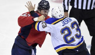 Washington Capitals right wing Tom Wilson (43) fights with St. Louis Blues right wing Dmitrij Jaskin (23), of Russia, during the third period of an NHL preseason hockey game, Friday, Sept. 22, 2017, in Washington. The Blues won 4-0. (AP Photo/Nick Wass)