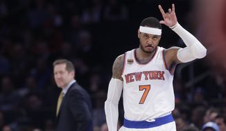 In this April 4, 2017, file photo, New York Knicks' Carmelo Anthony (7) checks in as coach Jeff Hornacek, left, watches during the first half of an NBA basketball game against the Chicago Bulls in New York. The Knicks said Friday, Sept. 22, 2017,  they expect Anthony will attend training camp when they report next week. (AP Photo/Frank Franklin II, File)