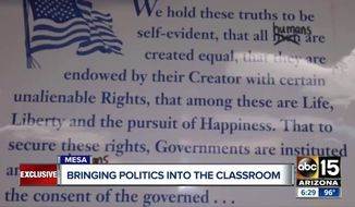 Mesa Public Schools in Arizona says one of its teachers broke school policy when she reportedly had her class recite an altered version of the Declaration of Independence. (ABC 15)