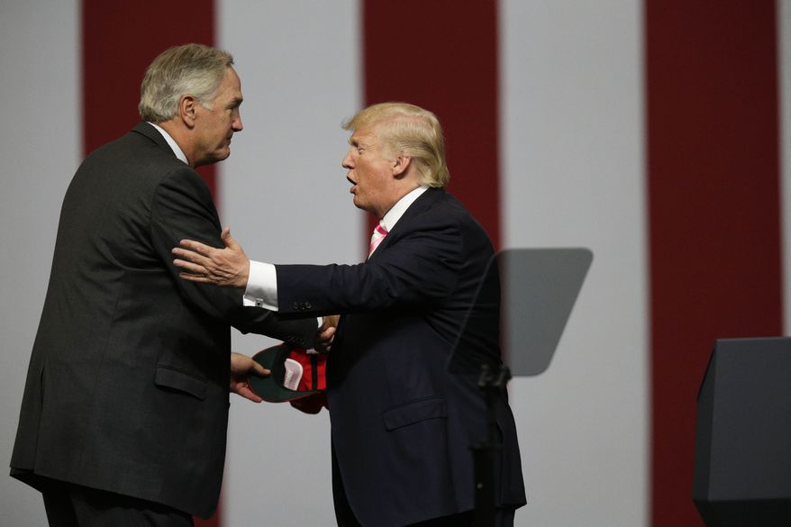 President Donald Trump speaks at campaign rally in support of Sen. Luther Strange, Friday, Sept. 22, 2017, in Huntsville, Ala. (AP Photo/Brynn Anderson) ** FILE **