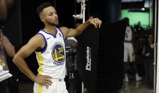Golden State Warriors' Stephen Curry during NBA basketball team media day Friday, Sept. 22, 2017, in Oakland , Calif. (AP Photo/Marcio Jose Sanchez)