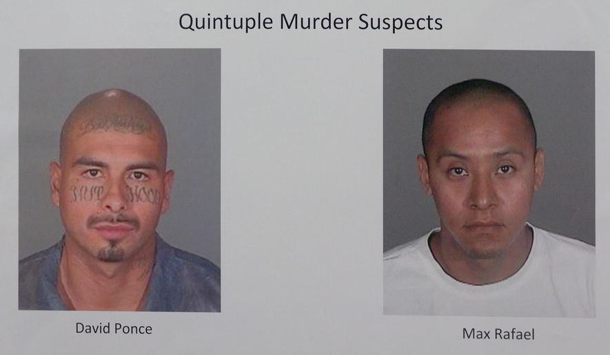 FILE - In these file booking photos released Jan. 18, 2012, shows suspects David Ponce, left, and Max Rafael in a 2008 murder of five people at a homeless encampment, released during a news conference announcing the arrest of suspects in Long Beach, Calif. The Los Angeles District Attorney's Office says a jury found gang members, David Ponce and Max Rafael guilty of five counts of murder and a kidnapping charge on Friday, Sept. 22, 2017. Prosecutors say Ponce and Rafael fatally shot three men and two women living at a homeless encampment near a freeway off-ramp in Long Beach. (AP Photo/Jeff Gritchen/Los Angeles Daily News via AP)