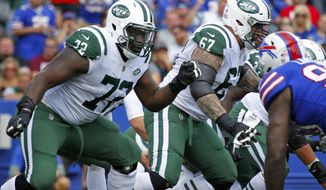 FILE - In this Sept. 10, 2017, file photo, New York Jets offensive tackle Brandon Shell (72) plays during the first half of an NFL football game against the Buffalo Bills in Orchard Park, N.Y. Shell has the difficult task of protecting the quarterback from big defensive linemen as the New York Jets' right tackle. But the toughest challenge of Shell's life has been the speech impediment he still deals with. (AP Photo/Jeffrey T. Barnes, File)