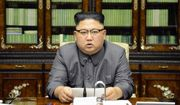 In this Thursday, Sept. 21, 2017, photo distributed on Friday, Sept. 22, 2017, by the North Korean government, North Korean leader Kim Jong-un delivers a statement in response to U.S. President Donald Trump's speech to the United Nations, in Pyongyang, North Korea. (Korean Central News Agency/Korea News Service via AP)