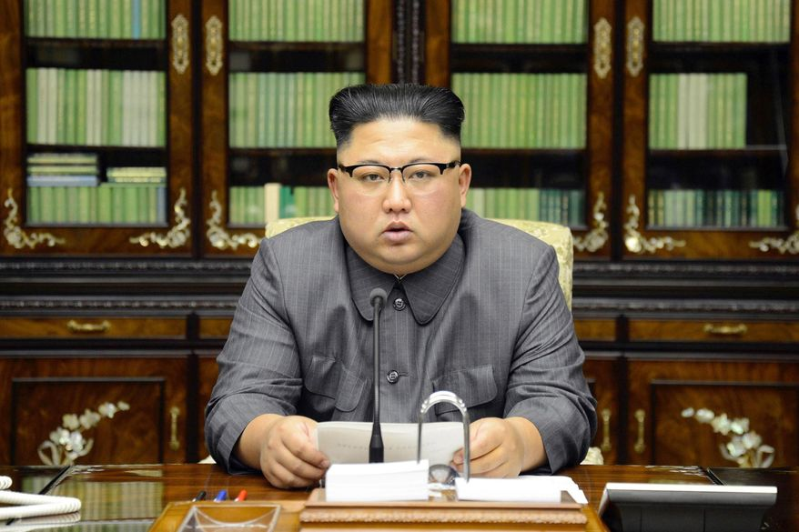 In this Thursday, Sept. 21, 2017, photo distributed on Friday, Sept. 22, 2017, by the North Korean government, North Korean leader Kim Jong-un delivers a statement in response to U.S. President Donald Trump's speech to the United Nations, in Pyongyang, North Korea. (Korean Central News Agency/Korea News Service via AP) ** FILE **