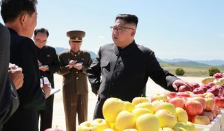 "In this undated photo distributed on Thursday, Sept. 21, 2017, by the North Korean government, North Korean leader Kim Jong Un, right, visits a fruit farm in Kwail County, South Hwanghae Province, North Korea. Kim, in an extraordinary and direct rebuke, called U.S. President Donald Trump ""deranged"" and said he will ""pay dearly"" for his threats, a possible indication of more powerful weapons tests on the horizon. Independent journalists were not given access to cover the event depicted in this image distributed by the Korean Central News Agency via Korea News Service. The content of this image is as provided and cannot be independently verified. (Korean Central News Agency/Korea News Service via AP)"