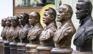 "A series of busts of Russia's rulers, including Vladimir Lenin, second right, and Josef Stalin, third right, are on display in Moscow, Russia, Friday, Sept. 22, 2017. The Russian Military-Historic Society, an organization founded by President Vladimir Putin and led by his culture minister, unveiled the sculptures Friday to expand its ""alley of rulers"" at a Moscow park, which until now had featured busts of Russian monarchs. It described the new display as part of efforts to preserve Russian history. (AP Photo/Alexander Zemlianichenko)"