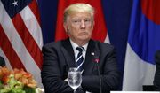President Donald Trump listens during a luncheon with South Korean President Moon Jae-in and Japanese Prime Minister Shinzo Abe, at the Palace Hotel during the United Nations General Assembly, Thursday, Sept. 21, 2017, in New York. (AP Photo/Evan Vucci)