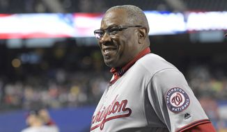 Washington Nationals manager Dusty Baker looks on before a baseball game against the New York Mets Friday, Sept. 22, 2017, in New York. (AP Photo/Bill Kostroun)
