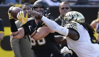 Appalachian State's Levi Duffield, left, catches a touchdown pass as Wake Forest linebacker Jaboree Williams, right, defends during the first half of an NCAA college football game in Boone, N.C., Saturday, Sept. 23, 2017. (AP Photo/Chuck Burton)