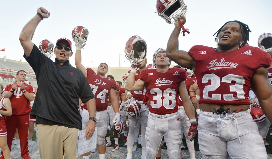 Indiana head coach Tom Allen and the team sing the Indiana fight song after an NCAA college football game against Georgia Southern, Saturday, Sept. 23, 2017, in Bloomington, Ind. (Chris Howell/The Herald-Times via AP)