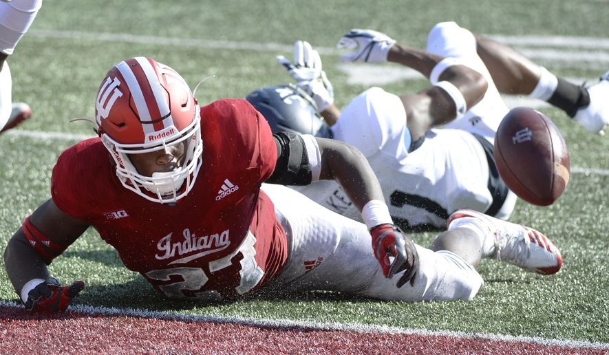 Indiana running back Morgan Ellison (27) fumbles the ball just short of the goal line during an NCAA college football game against Georgia Southern, Saturday, Sept. 23, 2017, in Bloomington, Ind. (Chris Howell/The Herald-Times via AP)