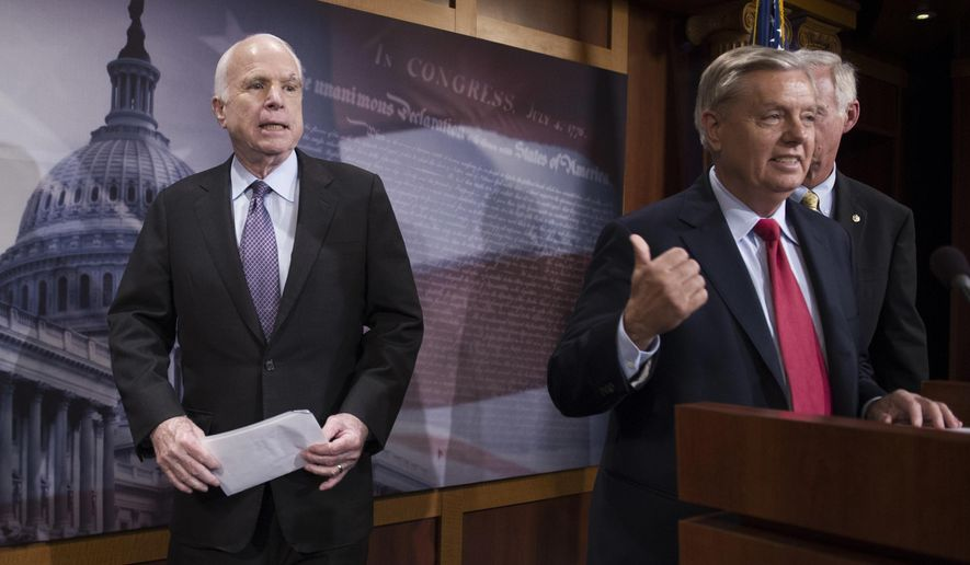 "FILE - In this July 27, 2017, file photo, Sen. John McCain, R-Ariz., left, walks onstage as Lindsey Graham, R-S.C., center, points to him while Sen. Ron Johnson, R-Wis., watches as they speak to reporters at the Capitol as the Republican-controlled Senate were unable to fulfill their political promise to repeal and replace ""Obamacare"" because of opposition and wavering within the GOP ranks, on Capitol Hill in Washington. Sen. McCain says on Friday, Sept. 22, 2017, he won't vote for the Republican bill repealing the Obama health care law. His statement likely deals a fatal blow to the last-gasp GOP measure in a Senate showdown expected next week. The Arizona Republican says he can't back the partisan GOP measure because ""we could do better working together, Republicans and Democrats.""  (AP Photo/Cliff Owen, File)"