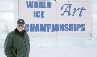 In this February 2012 photo, Dick Brickley poses in front of the entrance sign to the World Ice Art Championships in Fairbanks, Alaska. Longtime Ice Alaska supporters Dick and Hoa Brickley plan to leave the organization after the 2018 BP World Ice Art Championships. The Brickleys own the George Horner Ice Park and have been involved in the international ice carving event for 28 years. (Fairbanks Daily News-Miner file photo via AP)