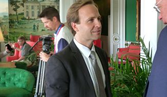 Michigan Lt. Gov. Brian Calley attends the Mackinac Republican Leadership Conference on Saturday, Sept. 23, 2017, on Mackinac Island, Mich. Calley was once presumed to be an eventual candidate for governor, but now there is uncertainty on whether he will run. (AP Photo/David Eggert)