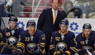 FILE - In this Monday Sept. 18, 2017, file photo, Buffalo Sabres new head coach Phil Housley looks on during the second period of a preseason NHL hockey game against the Carolina Hurricanes, Monday Sept. 18, 2017, in Buffalo, N.Y. (AP Photo/Jeffrey T. Barnes, File)