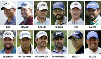 These 2017 file photos show the International roster for the 2017 Presidents Cup golf matches at Liberty National Golf Club in Jersey City, N.J. They are, top row from left, Jason Day, Australia; Branden Grace, South Africa; Emiliano Grillo, Argentina; Adam Hadwin, Canada; Si Woo Kim, South Korea; and Anirban Lahiri, India. Bottom row, from left, Marc Leishman, Australia; Hideki Matsuyama, Japan; Louis Oosthuizen, South Africa; Charl Schwartzel, South Africa; Adam Scott, Australia; and Jhonattan Vegas, Venezuela. (AP Photo/File)