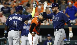 Tampa Bay Rays' Adeiny Hechavarria, left, high-fives teammate Lucas Duda after scoring on Duda's three-run home run in the third inning of a baseball game against the Baltimore Orioles in Baltimore, Saturday, Sept. 23, 2017. (AP Photo/Patrick Semansky)