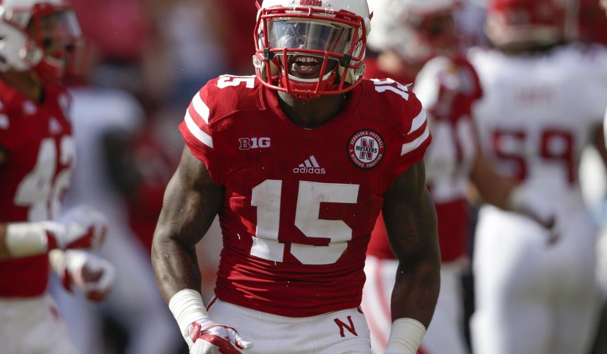 Nebraska wide receiver De'Mornay Pierson-El (15) reacts after carrying a punt return during the first half of an NCAA college football game against Rutgers in Lincoln, Neb., Saturday, Sept. 23, 2017. (AP Photo/Nati Harnik)