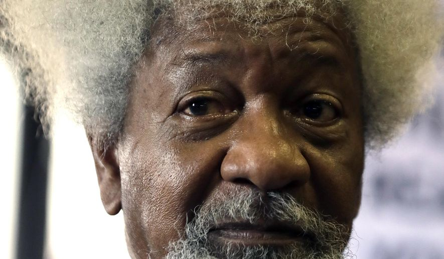 """In this Friday, Sept. 22, 2017 photo, Nigerian playwright and author Wole Soyinka, speaks during a media conference in Johannesburg, South Africa. Nobel laureate Soyinka says being an itinerant teacher has become """"a way of life"""" as he takes up a post as visiting professor at the University of Johannesburg. (AP Photo/Themba Hadebe)"""