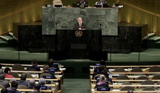 Iraq's Minister for Foreign Affairs Ibrahim Abdulkarim Al-Jafari speaks during the 72nd session of the United Nations General Assembly, Saturday, Sept. 23, 2017, at U.N. headquarters. (AP Photo/Julie Jacobson)