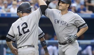New York Yankees' Greg Bird, right, celebrates at home plate with teammate Chase Headley after hitting a three-run home run against the Toronto Blue Jays in the fifth inning of a baseball game in Toronto on Saturday, Sept. 23, 2017. (Fred Thornhill/The Canadian Press via AP)