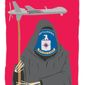 Illustration on CIA use of drones by Linas Garsys/The Washington Times
