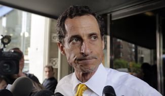In this July 24, 2013, file photo, former Democratic U.S. Rep. Anthony Weiner leaves his apartment building in New York. Weiner was sentenced Monday, Sept. 25, 2017, for sending obscene material to a 15-year-old girl in 2016. (AP Photo/Richard Drew, File)