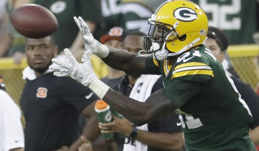 Green Bay Packers' Geronimo Allison catches a 72-yard catch during overtime of an NFL football game against the Cincinnati Bengals Sunday, Sept. 24, 2017, in Green Bay, Wis. (AP Photo/Morry Gash)