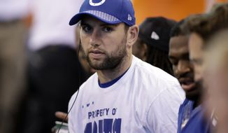 Indianapolis Colts quarterback Andrew Luck sits on the bench during the first half of an NFL football game against the Cleveland Browns in Indianapolis, Sunday, Sept. 24, 2017. (AP Photo/Darron Cummings)