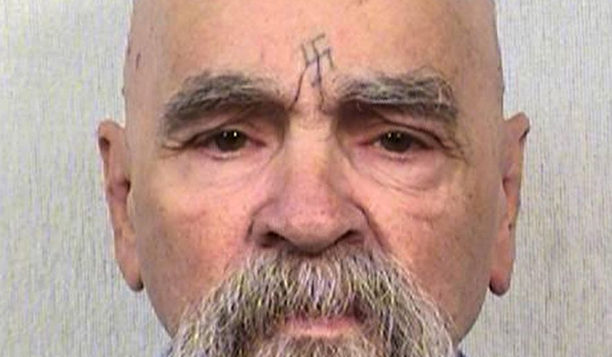 "FILE - This Oct. 8, 2014, file photo, provided by the California Department of Corrections shows Charles Manson. The leader of the murderous Manson ""family"" is 82 and among the older prisoners whose age would have to be considered as a condition for parole under a bill approved by California lawmakers. The legislation aims to release more inmates over 60 to overcrowding, though it's extremely unlikely Manson would ever be freed. (California Department of Corrections and Rehabilitation via AP)"