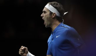 Europe's Roger Federer celebrates winning a point against World's Nick Kyrgios during their Laver Cup tennis match in Prague, Czech Republic, Sunday, Sept. 24, 2017. (AP Photo/Petr David Josek)