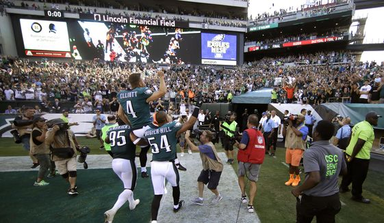 Philadelphia Eagles' Jake Elliott is carried off the field after kicking the game-winning field goal during an NFL football game against the New York Giants, Sunday, Sept. 24, 2017, in Philadelphia. Philadelphia won 27-24. (AP Photo/Matt Rourke)