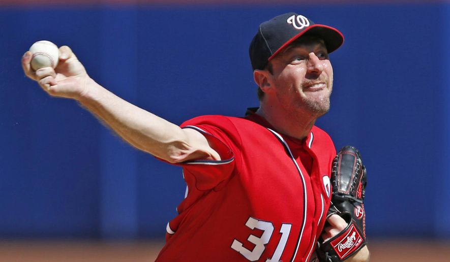 Washington Nationals starting pitcher Max Scherzer delivers during the first inning of a baseball game against the New York Mets, Sunday, Sept. 24, 2017, in New York. (AP Photo/Kathy Willens)
