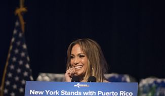 Jennifer Lopez announces her new hurricane recovery efforts for Puerto Rico Sunday, Sept. 24, 2017 in New York. She pledge to donate time and money help the recovery efforts. (AP Photo/Michael Noble Jr.)