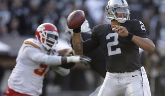 FILE - In this Dec. 15, 2013, file photo, Oakland Raiders quarterback Terrelle Pryor (2) passes against the Kansas City Chiefs during the second half of an NFL football game in Oakland, Calif. Now a wide receiver, Pryor will go against the team that drafted him for the first time when he and the Washington Redskins face the Oakland Raiders on Sunday night. Still thankful to late Raiders owner Al Davis for taking a chance on him in the 2011 supplemental draft, Pryor believes his struggles in Oakland helped him prepare for the twists and turns of his career. (AP Photo/Marcio Jose Sanchez, File)