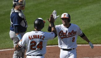 Baltimore Orioles' J.J. Hardy (2) celebrates his two-run home run with Pedro Alvarez (24) during the fourth inning of a baseball game as Tampa Bay Rays catcher Jesus Sucre, top left, looks on Sunday, Sept. 24, 2017, in Baltimore. (AP Photo/Nick Wass)