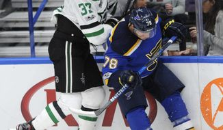 St. Louis Blues' Beau Bennett (78) collides with Dallas Stars' Marc Methot (33) during the second period of an NHL preseason hockey game, Saturday, Sept. 23, 2017, in St. Louis. (AP Photo/Bill Boyce)