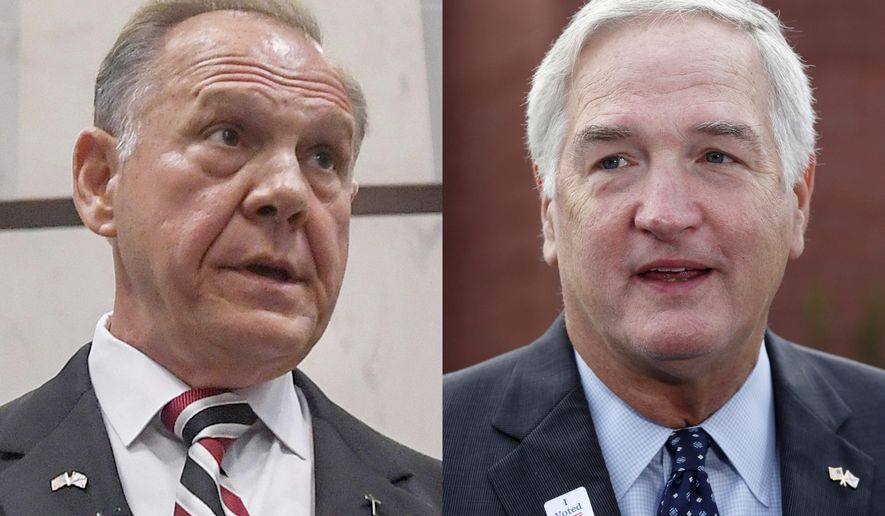 FILE - This combination of 2017 file photos shows U.S. Senate candidate Roy Moore, left, and Sen. Luther Strange. Strange and Moore face off Tuesday, Sept. 26 in the Republican runoff for U.S. Senate. (Mickey Welsh/The Montgomery Advertiser via AP, Butch Dill, File)