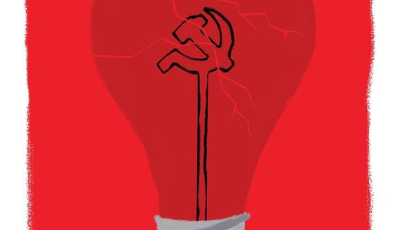 Illustration on the broken ideology of Socialism by Linas Garsys/The Washington Times