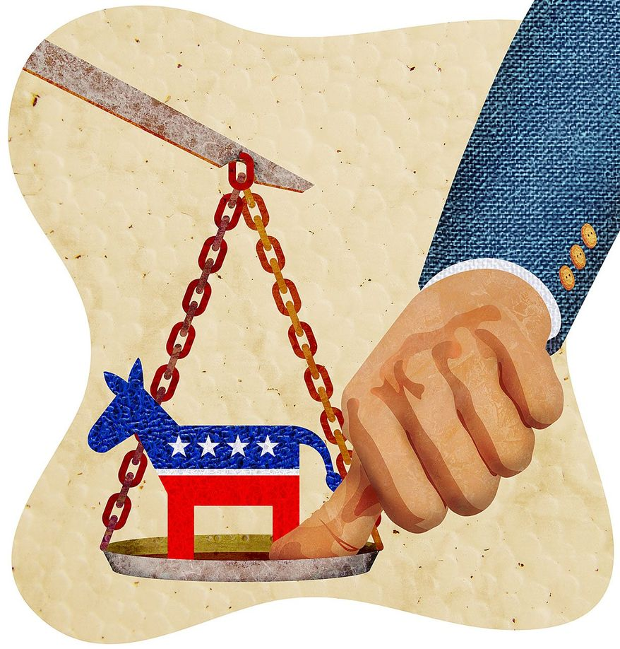 Democrat Thumb on the Scale Illustration by Greg Groesch/The Washington Times
